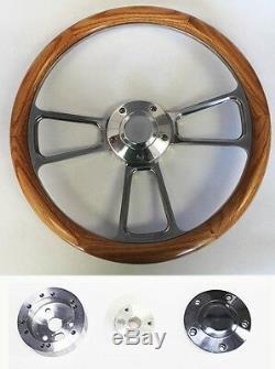 14 Oak Wood Grip & Billet Steering Wheel Polished Adapter Shallow Dish GM kit