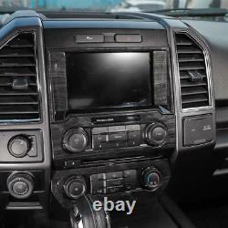 15-21 Ford F150 Molded Black Wood Grain 3 Piece Dashboard Trim Bezel Cover Kit