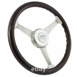 15 Inch Real Wood Stainless Steel Banjo Steering Wheel & Horn Kit- Chevy & more