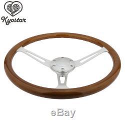 15inch Wooden Grain Silver Brushed Spoke Steering Wheel classic Wood + Horn Kit