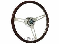 1949 1968 Pontiac S6 Classic Espresso Wood Finish Steering Wheel Kit Riveted