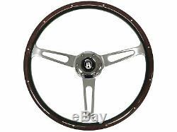 1961 1974.5 VW S6 Classic Espresso Wood Steering Wheel Kit Castle Emblem