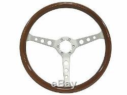 1961 1974.5 VW S6 Classic Wood Steering Wheel Brushed Kit 3 Spoke-Holes
