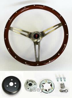1964 1965 1966 Pontiac GTO Wood Steering Wheel 15 High Gloss Grip with Rivets