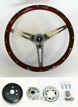 1965 1969 Mustang Wood Steering Wheel 15 High Gloss Finish Mahogany with Rivets