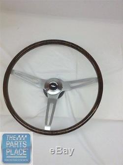 1967-68 Chevrolet Walnut Wood Steering Wheel Kit 3 Spoke Brushed Bowtie Cap