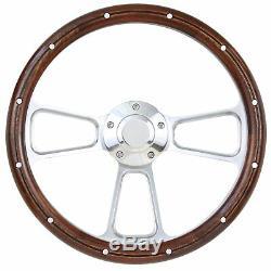 1967 to 1974 Ford Bronco Real Wood & BIllet Steering Wheel Full Install Kit