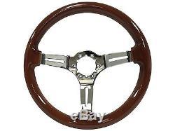 1968 1978 Ford Mustang 6 Bolt Mahogany Finish Steering Wheel Kit Pony Emblem