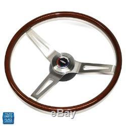 1969-72 Chevrolet Walnut Wood Steering Wheel Kit 3 Spoke Brushed Bowtie