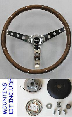 1976-1995 Jeep CJ5 CJ7 YJ Classic Wood Steering Wheel 13 1/2 Horn Kit Grant