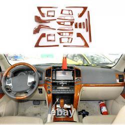 19pcs Wood Grain Full Dash Trim Kit Cover For Toyota Land Cruiser LC200 2008-15