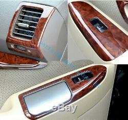 28x Wood Grain Dash Trim Kit Cover For Toyota Land Cruiser Prado FJ120 2003-2009