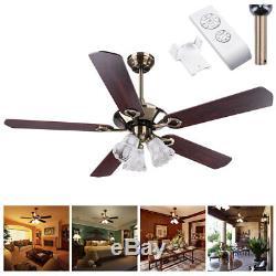 52 Ceiling Fan Light Kit Remote Control Reversible Restaurant Cafe Chandelier