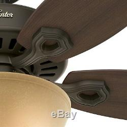 52 Hunter Ceiling Fan in New Bronze with a Bowl Toffee Glass Light kit