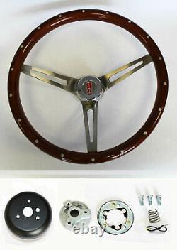 69-93 Oldsmobile Cutlass 442 Wood Steering Wheel with Rivets High Gloss 15