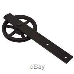 6FT Big Wheel Antique Black Steel Sliding Barn Wood Door Hardware Kit Closet Set