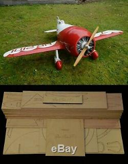 75 wing span Gee Bee R-1 Super Sportster R/c Plane short kit/semi kit and plans