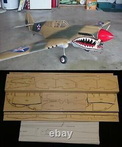 86 Ws P-40E WARHAWK R/c Plane short kit/partial kit and plans, PLEASE READ