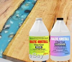 BALTIC Kristall Clear Epoxy Resin for Wood Bar Table Top 2 Gallon Kit UV Protect