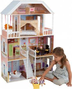 Barbie Size Doll House Playhouse Dream Girls Play Wooden Dollhouse Furniture