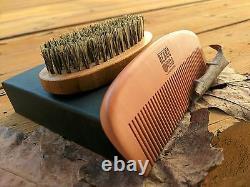 Best Beard Brush Boar Bristles & Wooden Comb Kit for BeardField