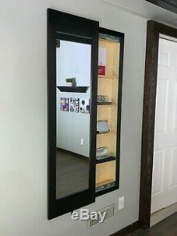 Black Hidden storage mirror In-wall gun safe concealment cabinet rifle ar pistol