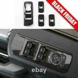 Black Wood Grain Car Interior Decoration Trim Cover Kit For 2015-2017 Ford F150