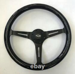 Blazer C10 C20 C30 S10 Truck Black Wood Steering Wheel 15 Black Spokes Bowtie