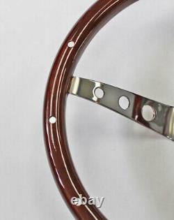 Bronco F100 F150 F250 F350 Wood Steering Wheel High Gloss Grip with Rivets 15