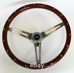 Bronco F100 F150 F250 F350 Wood Steering Wheel High Gloss with Rivets 15 Ford Cap