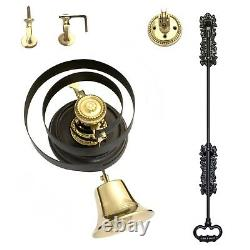 Butlers Bell Black Iron Pull + BRASS With Wood Plinth FULL KIT