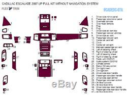 Cadillac Escalade Fits 2007 2010 New Style 44 Pcs Interior Wood Dash Trim Kit