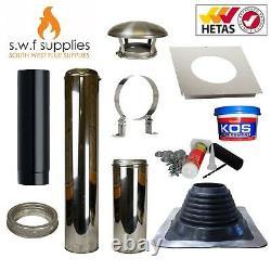 Caravan Twin Wall Flue Kit For Multifuel Stove Wood Burner Chimney Stoves 5 6