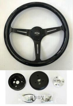 Chevelle Camaro El Camino Nova Black Wood Steering Wheel 15 on Black Bowtie Cap