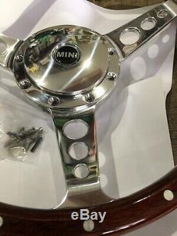 Classic Austin Mini Woodrim Steering Wheel Inc Polished Boss 13 In Semi Dish