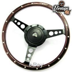 Classic Car 13 Semi Dished Riveted Dark Wood Rim Steering Wheel & Boss Kit
