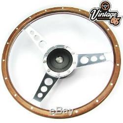 Classic Mini 13 Retro Riveted Dark Wood Rim & Black Steering Wheel & Boss Kit
