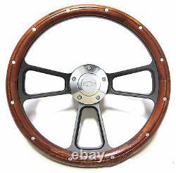 Custom Wood & Black Billet Steering Wheel Kit for 1969 1994 Chevy Camaro