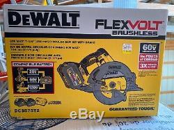 DEWALT FlexVolt 60V MAX Li-Ion 7-1/4 in. Circular Saw Kit DCS575T2 new