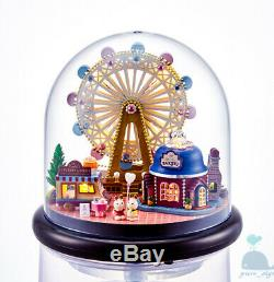 DIY Handcraft Miniature Project Kit Dolls House Glass Dome Happy Ferris Wheel