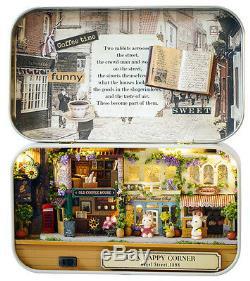 DIY Handcraft Miniature Project Kit Dolls Old High Street Shops Tin Box Theatre