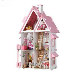 DIY Large Wooden Kids Doll House Barbie Kit Play Dollhouse Mansion Furniture