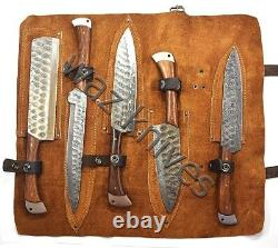 Damascus Hand Forged 5 Piece Chefs Knife Set Pkka Wood Handle & Leather Kit