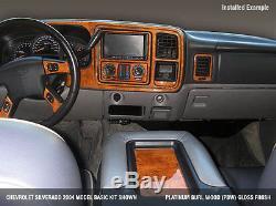 Dash Trim Kit 24 Pcs Fits Chevy Tahoe 2000 2001 2002 Wood Carbon Aluminum