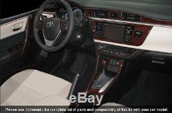 Dash Trim Kit 27 Pcs Fits Toyota Corolla 2014, 2015 Wood Carbon Aluminum