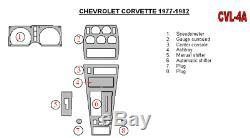 Dash Trim Kit for Chevrolet Corvette 1977-1982 Wood Carbon Aluminum 3D Domed