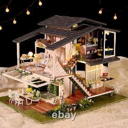 Dollhouse Miniature with Furniture & LED Light DIY Dollhouse Kit Mini Wooden