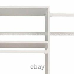 Easy Track Wooden Select Tower Closet Organizer System Kit with Shelves, White