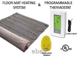 Electric Tile Radiant Warm Floor Heat Heated Kit, Mat with Aube Prog Thermostat