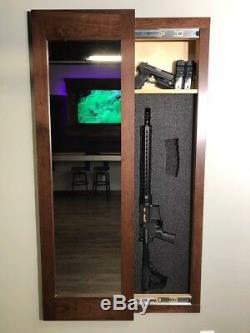 Espresso Hidden storage mirror In-wall gun safe concealment cabinet rifle pistol